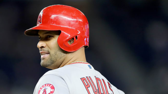 NEW YORK, NEW YORK - SEPTEMBER 18:  Albert Pujols #5 of the Los Angeles Angels stands on first base after he drove in a run with a hit in the sixth inning against the New York Yankees at Yankee Stadium on September 18, 2019 in the Bronx borough of New York City. (Photo by Elsa/Getty Images)