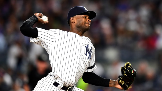 NEW YORK, NEW YORK - SEPTEMBER 18: Domingo German #55 of the New York Yankees pitches during the third inning of their game against the Los Angeles Angels at Yankee Stadium on September 18, 2019 in the Bronx borough of New York City. (Photo by Emilee Chinn/Getty Images)
