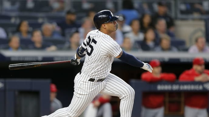 NEW YORK, NEW YORK - SEPTEMBER 17: Gleyber Torres #25 of the New York Yankees singles during the second inning against the Los Angeles Angels of Anaheim at Yankee Stadium on September 17, 2019 in New York City. (Photo by Jim McIsaac/Getty Images)