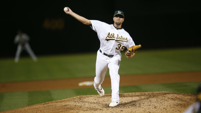 OAKLAND, CA - SEPTEMBER 3: Blake Treinen #39 of the Oakland Athletics pitches during the game against the Los Angeles Angels of Anaheim at the Oakland-Alameda County Coliseum on September 3, 2019 in Oakland, California. The Athletics defeated the Angels 7-5. (Photo by Michael Zagaris/Oakland Athletics/Getty Images)