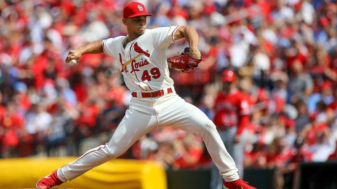 ST. LOUIS, MO - JUNE 22: Jordan Hicks #49 of the St. Louis Cardinals pitches during the eighth inning against the Los Angeles Angels of Anaheim at Busch Stadium on June 22, 2019 in St. Louis, Missouri. (Photo by Scott Kane/Getty Images)
