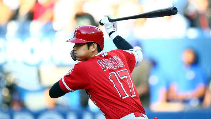 TORONTO, ON - JUNE 18:  Shohei Ohtani #17 of the Los Angeles Angels of Anaheim swings and grounds out in the first inning during a MLB game against the Toronto Blue Jays at Rogers Centre on June 18, 2019 in Toronto, Canada.  (Photo by Vaughn Ridley/Getty Images)