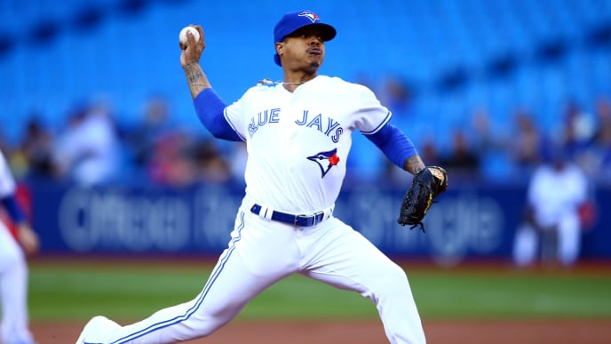 TORONTO, ON - JUNE 18:  Marcus Stroman #6 of the Toronto Blue Jays delivers a pitch in the first inning during a MLB game against the Los Angeles Angels of Anaheim at Rogers Centre on June 18, 2019 in Toronto, Canada.  (Photo by Vaughn Ridley/Getty Images)