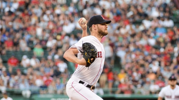 BOSTON, MA - AUGUST 8: Chris Sale #41 of the Boston Red Sox pitches in the second inning against the Los Angeles Angels of Anaheim at Fenway Park on August 8, 2019 in Boston, Massachusetts. (Photo by Kathryn Riley/Getty Images)