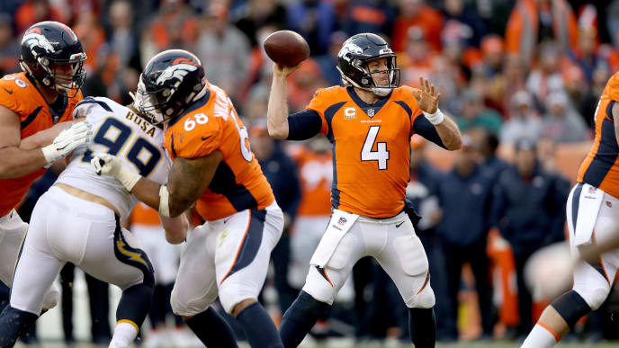 DENVER, COLORADO - DECEMBER 30: Quarterback Case Keenum #4 of the Denver Broncos throws against the Los Angeles Chargers at Broncos Stadium at Mile High on December 30, 2018 in Denver, Colorado. (Photo by Matthew Stockman/Getty Images)