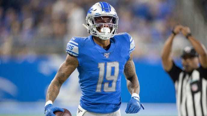 DETROIT, MI - SEPTEMBER 15: Kenny Golladay #19 of the Detroit Lions celebrates a reception during the fourth quarter of the game against the Los Angeles Chargers at Ford Field on September 15, 2019 in Detroit, Michigan. Detroit defeated Los Angeles 10-13. (Photo by Leon Halip/Getty Images)