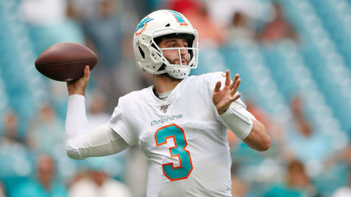 MIAMI, FLORIDA - SEPTEMBER 29: Josh Rosen #3 of the Miami Dolphins warms up prior to the game between the Miami Dolphins and the Los Angeles Chargers at Hard Rock Stadium on September 29, 2019 in Miami, Florida. (Photo by Michael Reaves/Getty Images)