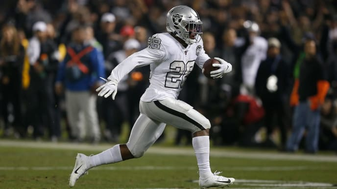 OAKLAND, CALIFORNIA - NOVEMBER 07: Josh Jacobs #28 of the Oakland Raiders runs the ball into the end zone for a touchdown in the fourth quarter at RingCentral Coliseum on November 07, 2019 in Oakland, California. (Photo by Lachlan Cunningham/Getty Images)