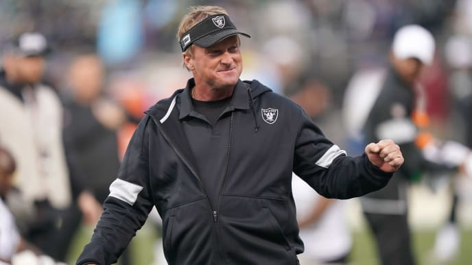 OAKLAND, CALIFORNIA - NOVEMBER 07: Head coach Jon Gruden of the Oakland Raiders looks on during pregame warm ups prior to the start of an NFL football game against the Los Angeles Chargers at RingCentral Coliseum on November 07, 2019 in Oakland, California. (Photo by Thearon W. Henderson/Getty Images)