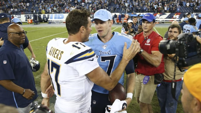 NASHVILLE, TENNESSEE - OCTOBER 20: Philip Rivers #17 of the Los Angeles Chargers shakes hands with Ryan Tannehill #17 of the Tennessee Titans at Nissan Stadium on October 20, 2019 in Nashville, Tennessee. (Photo by Silas Walker/Getty Images)