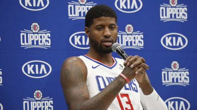 PLAYA VISTA, CALIFORNIA - SEPTEMBER 29: Paul George #13 of the LA Clippers speaks to the media during the LA Clippers media day at Honey Training Center on September 29, 2019 in Playa Vista, California. (Photo by Josh Lefkowitz/Getty Images)