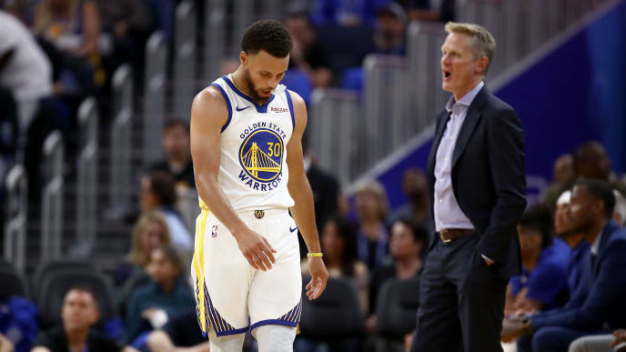 SAN FRANCISCO, CALIFORNIA - OCTOBER 24:   Stephen Curry #30 and head coach Steve Kerr of the Golden State Warriors react after a play during their game against the LA Clippers at Chase Center on October 24, 2019 in San Francisco, California.  NOTE TO USER: User expressly acknowledges and agrees that, by downloading and or using this photograph, User is consenting to the terms and conditions of the Getty Images License Agreement. (Photo by Ezra Shaw/Getty Images)