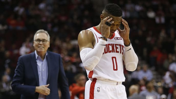 HOUSTON, TEXAS - NOVEMBER 13: Russell Westbrook #0 of the Houston Rockets reacts as he receives his fourth foul during the first quarter against the Los Angeles Clippers at Toyota Center on November 13, 2019 in Houston, Texas. NOTE TO USER: User expressly acknowledges and agrees that, by downloading and/or using this photograph, user is consenting to the terms and conditions of the Getty Images License Agreement.  (Photo by Bob Levey/Getty Images)