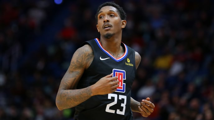 NEW ORLEANS, LOUISIANA - NOVEMBER 14: Lou Williams #23 of the LA Clippers reacts during a game against the New Orleans Pelicans at the Smoothie King Center on November 14, 2019 in New Orleans, Louisiana. NOTE TO USER: User expressly acknowledges and agrees that, by downloading and or using this Photograph, user is consenting to the terms and conditions of the Getty Images License Agreement.  (Photo by Jonathan Bachman/Getty Images)