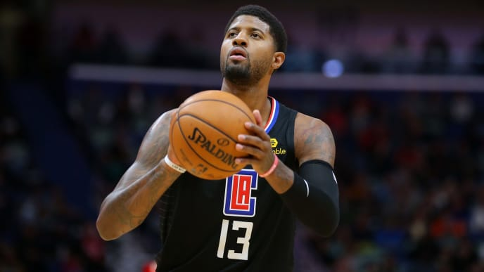 NEW ORLEANS, LOUISIANA - NOVEMBER 14: Paul George #13 of the LA Clippers in action during a game against the New Orleans Pelicans at the Smoothie King Center on November 14, 2019 in New Orleans, Louisiana. NOTE TO USER: User expressly acknowledges and agrees that, by downloading and or using this Photograph, user is consenting to the terms and conditions of the Getty Images License Agreement.  (Photo by Jonathan Bachman/Getty Images)