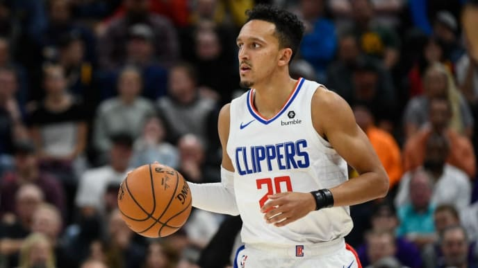 SALT LAKE CITY, UT - OCTOBER 30:  Landry Shamet #20 of the LA Clippers in action during a game against the Utah Jazz at Vivint Smart Home Arena on October 30, 2019 in Salt Lake City, Utah. NOTE TO USER: User expressly acknowledges and agrees that, by downloading and or using this photograph, User is consenting to the terms and conditions of the Getty Images License Agreement.  (Photo by Alex Goodlett/Getty Images)