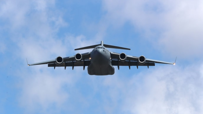 LOS ANGELES, CALIFORNIA - MARCH 28:  View of a Boeing C-17 Globemaster III from the 452nd Air Mobility Wing at March Air Reserve Base doing a flyover at the Los Angeles Dodgers Game Opening Day at Dodger Stadium on March 28, 2019 in Los Angeles, California. (Photo by Jerritt Clark/Getty Images)