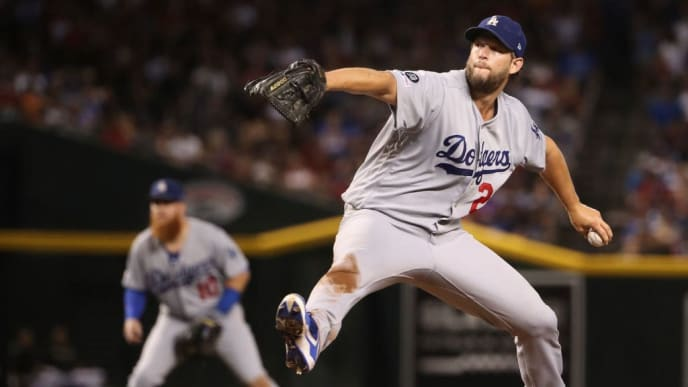 PHOENIX, ARIZONA - AUGUST 31:  Starting pitcher Clayton Kershaw #22 of the Los Angeles Dodgers pitches against the Arizona Diamondbacks during the fourth inning of the MLB game at Chase Field on August 31, 2019 in Phoenix, Arizona. (Photo by Christian Petersen/Getty Images)