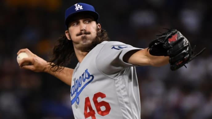 PHOENIX, ARIZONA - AUGUST 30: Tony Gonsolin #46 of the Los Angeles Dodgers delivers a first inning pitch against the Arizona Diamondbacks at Chase Field on August 30, 2019 in Phoenix, Arizona. (Photo by Norm Hall/Getty Images)