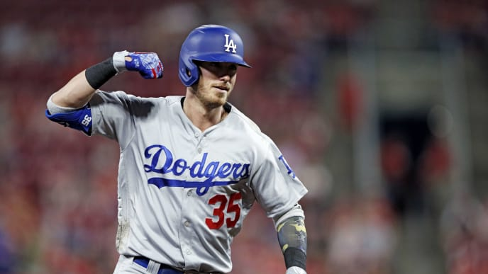 CINCINNATI, OH - MAY 17: Cody Bellinger #35 of the Los Angeles Dodgers reacts after hitting a solo home run in the eighth inning against the Cincinnati Reds at Great American Ball Park on May 17, 2019 in Cincinnati, Ohio. The Dodgers won 6-0. (Photo by Joe Robbins/Getty Images)
