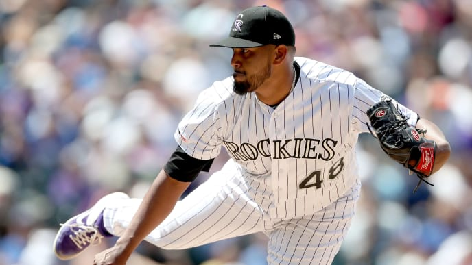 DENVER, COLORADO - JULY 31: Starting pitcher German Marquez #48 of the Colorado Rockies throws in the fifth inning against the Los Angeles Dodgers at Coors Field on July 31, 2019 in Denver, Colorado. (Photo by Matthew Stockman/Getty Images)