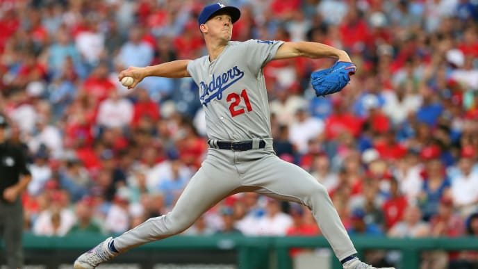 PHILADELPHIA, PA - JULY 16:  Walker Buehler #21 of the Los Angeles Dodgers delivers a pitch against the Philadelphia Phillies during the third inning of a baseball game at Citizens Bank Park on July 16, 2019 in Philadelphia, Pennsylvania. (Photo by Rich Schultz/Getty Images)