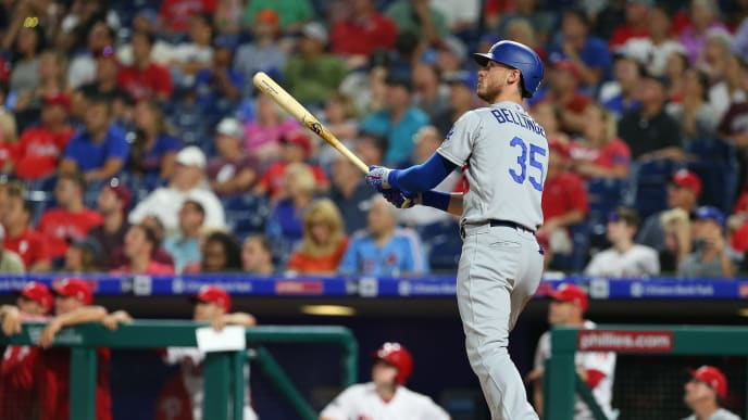 PHILADELPHIA, PA - JULY 15: Cody Bellinger #35 of the Los Angeles Dodgers watches his home run against the Philadelphia Phillies during the seventh inning of a baseball game at Citizens Bank Park on July 15, 2019 in Philadelphia, Pennsylvania. (Photo by Rich Schultz/Getty Images)