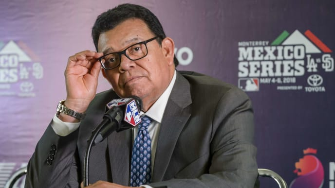 MONTERREY, MEXICO - MAY 05: Fernando Valenzuela speaks during a press conference prior the MLB game between the San Diego Padres and the Los Angeles Dodgers at Estadio de Beisbol Monterrey on May 5, 2018 in Monterrey, Mexico. (Photo by Azael Rodriguez/Getty Images)