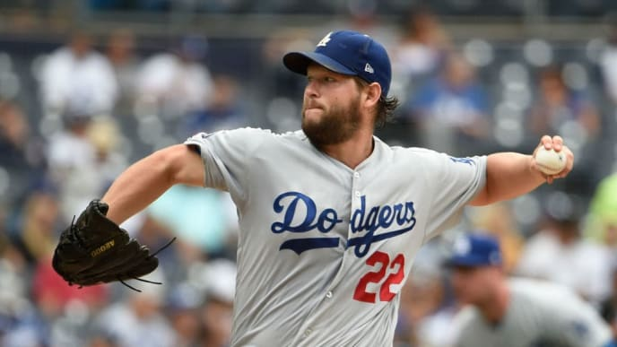 SAN DIEGO, CA - SEPTEMBER 26: Clayton Kershaw #22 of the Los Angeles Dodgers pitches during the the second inning of a baseball game against the San Diego Padres at Petco Park September 26, 2019 in San Diego, California.  (Photo by Denis Poroy/Getty Images)