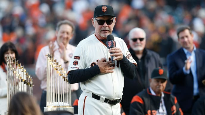 SAN FRANCISCO, CALIFORNIA - SEPTEMBER 29: Retiring manager Bruce Bochy #15 of the San Francisco Giants addresses the fans during a ceremony celebrating his career after the game between the Los Angeles Dodgers and the San Francisco Giants at Oracle Park on September 29, 2019 in San Francisco, California. (Photo by Lachlan Cunningham/Getty Images)
