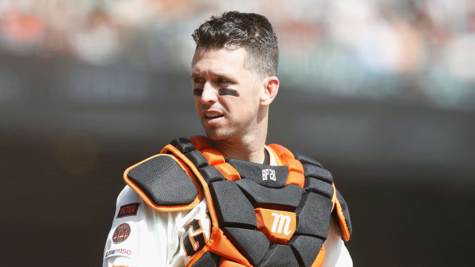 SAN FRANCISCO, CALIFORNIA - SEPTEMBER 29: Catcher Buster Posey #28 of the San Francisco Giants looks on from home plate during the game against the Los Angeles Dodgers at Oracle Park on September 29, 2019 in San Francisco, California. (Photo by Lachlan Cunningham/Getty Images)