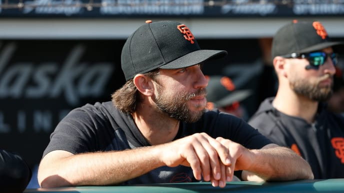 SAN FRANCISCO, CALIFORNIA - SEPTEMBER 29: Madison Bumgarner #40 of the San Francisco Giants looks on from the dugout during a ceremony to celebrate the career of retiring manager Bruce Bochy #15 of the San Francisco Giants at Oracle Park on September 29, 2019 in San Francisco, California. (Photo by Lachlan Cunningham/Getty Images)