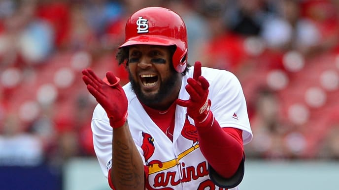 ST LOUIS, MO - APRIL 11: Jose Martinez #38 of the St. Louis Cardinals celebrates after hitting a one run double during the sixth inning against the Los Angeles Dodgers at Busch Stadium on April 11, 2019 in St Louis, Missouri. (Photo by Jeff Curry/Getty Images)