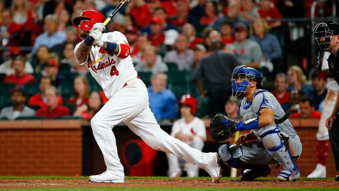ST. LOUIS, MO - APRIL 10: Yadier Molina #4 of the St. Louis Cardinals hits a two-run home run against the Los Angeles Dodgers in the sixth inning at Busch Stadium on April 10, 2019 in St. Louis, Missouri.  (Photo by Dilip Vishwanat/Getty Images)