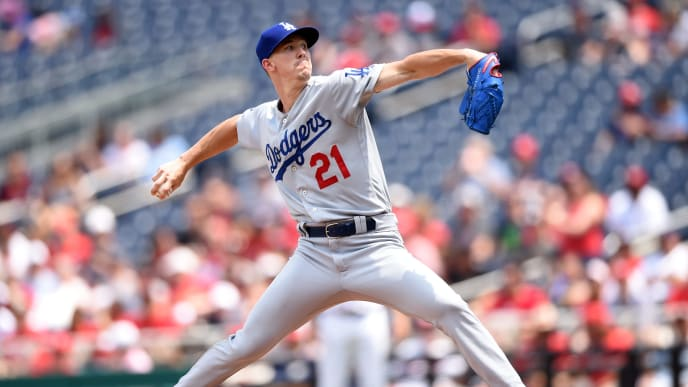 WASHINGTON, DC - JULY 28:  Walker Buehler #21 of the Los Angeles Dodgers pitches in the first inning during a baseball game against the Washington Nationals at Nationals Park on July 28, 2019 in Washington, DC.  (Photo by Mitchell Layton/Getty Images)