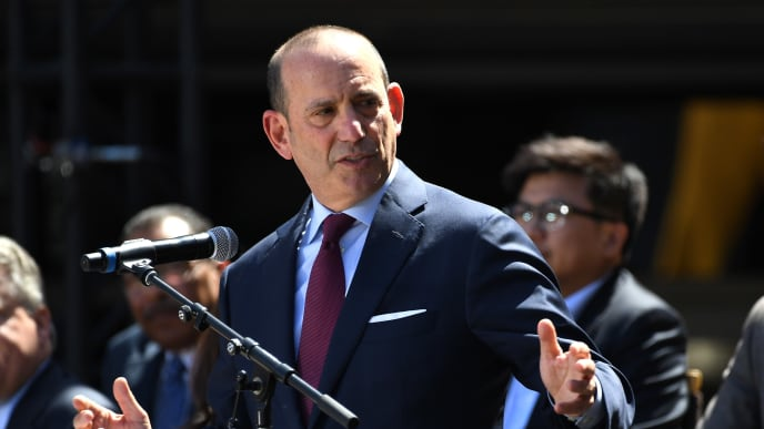 LOS ANGELES, CA - APRIL 18:  Commissioner of Major League Soccer Don Garber speaks to fans and media at the ribbon cutting ceremony for the new home of th Los Angeles FC at the Banc of California Stadium on April 18, 2018 in Los Angeles, California.  (Photo by Jayne Kamin-Oncea/Getty Images)