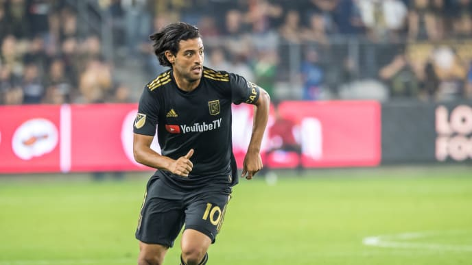 LOS ANGELES, CA - OCTOBER 24: Carlos Vela #10 of Los Angeles FC during the MLS Western Conference Semi-final between Los Angeles FC and Los Angeles Galaxy at the Banc of California Stadium on October 24, 2019 in Los Angeles, California. Los Angeles FC won the match 5-3 (Photo by Shaun Clark/Getty Images)