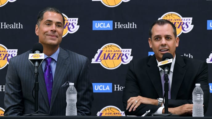 EL SEGUNDO, CALIFORNIA - MAY 20:  Los Angeles Lakers General Manager Rob Pelinka sits with new head coach Frank Vogel as he speaks to media at a press conference at UCLA Health Training Center on May 20, 2019 in El Segundo, California. (Photo by Harry How/Getty Images)