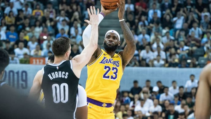 SHENZHEN, CHINA - OCTOBER 12: LeBorn James of Los Angeles Lakers in action during Los Angeles Lakers v Brooklyn Nets at Shenzhen Universiade Center on October 12, 2019 in Shenzhen, China. NOTE TO USER: User expressly acknowledges and agrees that, by downloading and/or using this photograph, user is consenting to the terms and conditions of the Getty Images License Agreement. (Photo by Ivan Shum - Clicks Images/Getty Images)