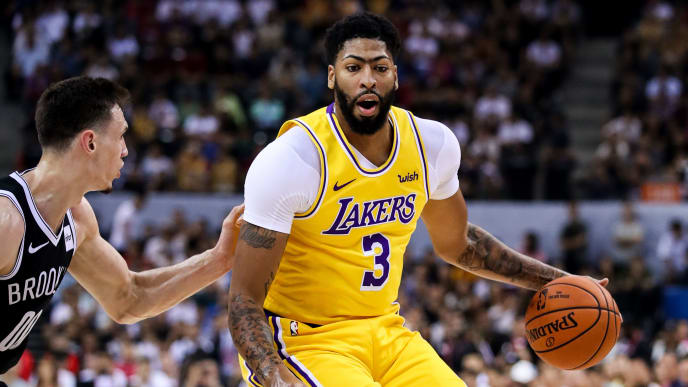 SHENZHEN, CHINA - OCTOBER 12: #3 Anthony Davis of Los Angeles Lakers drives the ball during NBA China Games 2019 between Los Angeles Lakers and Brooklyn Nets at Shenzhen Universiade Center on October 12, 2019 in Shenzhen, China. NOTE TO USER: User expressly acknowledges and agrees that, by downloading and/or using this photograph, user is consenting to the terms and conditions of the Getty Images License Agreement. (Photo by Zhizhao Wu/Getty Images)