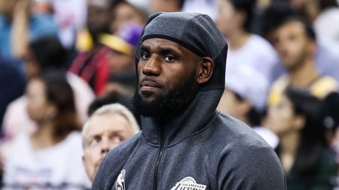 SHENZHEN, CHINA - OCTOBER 12: #23 LeBron James of Los Angeles Lakers in action during NBA China Games 2019 between Los Angeles Lakers and Brooklyn Nets at Shenzhen Universiade Center on October 12, 2019 in Shenzhen, China. NOTE TO USER: User expressly acknowledges and agrees that, by downloading and/or using this photograph, user is consenting to the terms and conditions of the Getty Images License Agreement. (Photo by Zhizhao Wu/Getty Images)