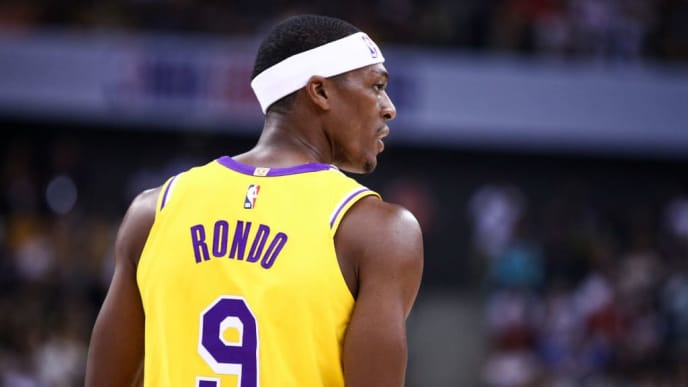 SHENZHEN, CHINA - OCTOBER 12: Rajon Rondo #9 of the Los Angeles Lakers looks on during the match against the Brooklyn Nets during a preseason game as part of 2019 NBA Global Games China at Shenzhen Universiade Center on October 12, 2019 in Shenzhen, Guangdong, China. (Photo by Zhong Zhi/Getty Images)