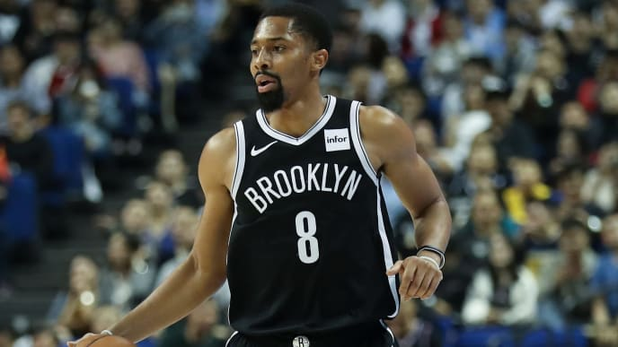 SHANGHAI, CHINA - OCTOBER 10:  Spencer Dinwiddie #8 of the Brooklyn Nets in action against the Los Angeles Lakers during a preseason game as part of 2019 NBA Global Games China on October 10, 2019 at Mercedes Benz Arena in Shanghai, China.  NOTE TO USER: User expressly acknowledges and agrees that, by downloading and/or using this photograph, user is consenting to the terms and conditions of the Getty Images License Agreement. (Photo by Lintao Zhang/Getty Images)