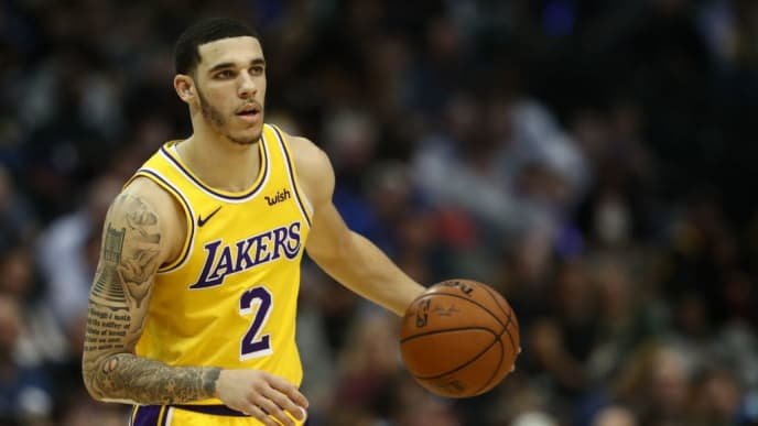 DALLAS, TEXAS - JANUARY 07:  Lonzo Ball #2 of the Los Angeles Lakers during a game against the Dallas Mavericks at American Airlines Center on January 07, 2019 in Dallas, Texas.  NOTE TO USER: User expressly acknowledges and agrees that, by downloading and or using this photograph, User is consenting to the terms and conditions of the Getty Images License Agreement. (Photo by Ronald Martinez/Getty Images)