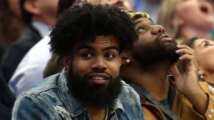 DALLAS, TEXAS - JANUARY 07:  Ezekiel Elliott of the Dallas Cowboys attends a game between the Los Angeles Lakers and the Dallas Mavericks at American Airlines Center on January 07, 2019 in Dallas, Texas.  NOTE TO USER: User expressly acknowledges and agrees that, by downloading and or using this photograph, User is consenting to the terms and conditions of the Getty Images License Agreement. (Photo by Ronald Martinez/Getty Images)
