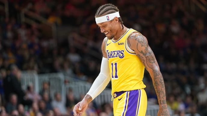 SAN JOSE, CA - OCTOBER 12:  Michael Beasley #11 of the Los Angeles Lakers walks off the court smiling after he received two technical fouls and was ejected from the game against the Golden State Warriors during the second half of their NBA preseason basketball game at SAP Center on October 12, 2018 in San Jose, California. NOTE TO USER: User expressly acknowledges and agrees that, by downloading and or using this photograph, User is consenting to the terms and conditions of the Getty Images License Agreement.  (Photo by Thearon W. Henderson/Getty Images)