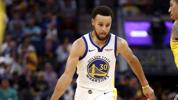 SAN FRANCISCO, CALIFORNIA - OCTOBER 05:  Stephen Curry #30 of the Golden State Warriors in action against the Los Angeles Lakers at Chase Center on October 05, 2019 in San Francisco, California.  NOTE TO USER: User expressly acknowledges and agrees that, by downloading and or using this photograph, User is consenting to the terms and conditions of the Getty Images License Agreement.  (Photo by Ezra Shaw/Getty Images)