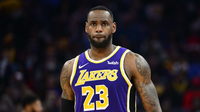 MEMPHIS, TN - NOVEMBER 23: LeBron James #23 of the Los Angeles Lakers looks on during the game against the Memphis Grizzlies at FedExForum on November 23, 2019 in Memphis, Tennessee. NOTE TO USER: User expressly acknowledges and agrees that, by downloading and/or using this photograph, user is consenting to the terms and conditions of the Getty Images License Agreement. (Photo by Brandon Dill/Getty Images)