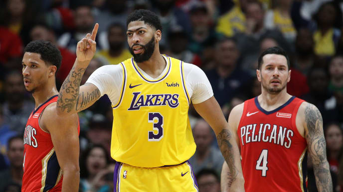 Anthony Davis is a dominant force on both sides of the floor as a member of the Los Angeles Lakers.