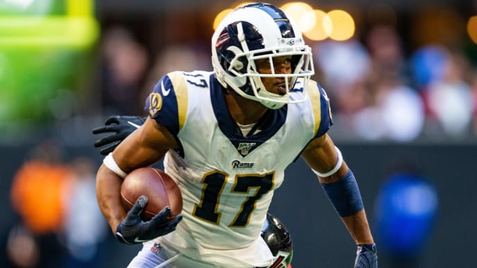 ATLANTA, GA - OCTOBER 20: Robert Woods #17 of the Los Angeles Rams rushes during a game against the Atlanta Falcons at Mercedes-Benz Stadium on October 20, 2019 in Atlanta, Georgia. (Photo by Carmen Mandato/Getty Images)